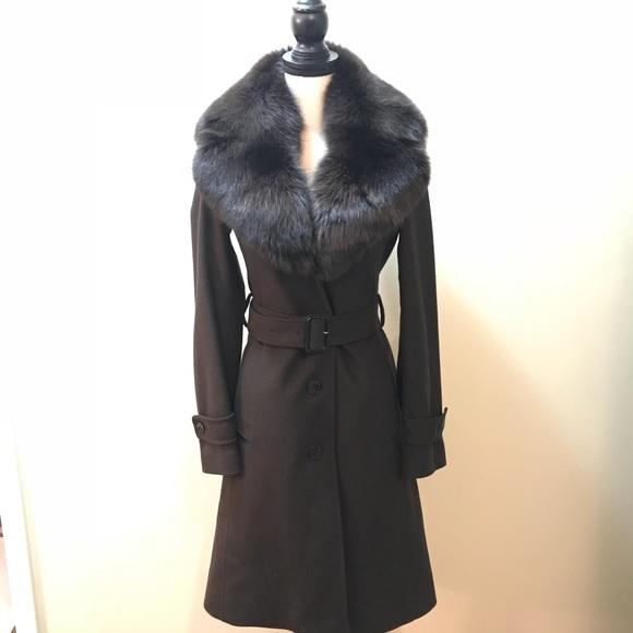 Burberry wool cashmere fox fur collar brown coat